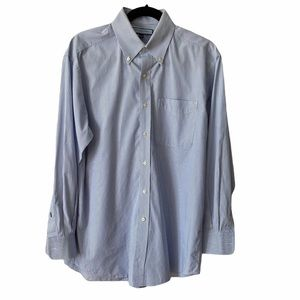 Tommy Hilfiger Mens Blue White Stripe Shirt, 15.5